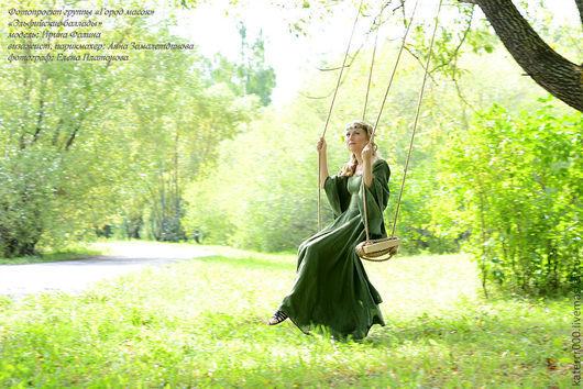 Ролевые игры ручной работы. Ярмарка Мастеров - ручная работа. Купить Эльфийское платье   мод. 1. Handmade. Тёмно-зелёный