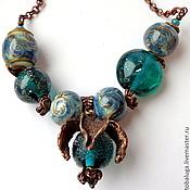 Украшения handmade. Livemaster - original item Beads lampwork emerald wave. Handmade.
