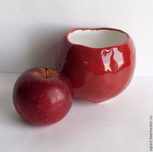 """Пиалы ручной работы. Ярмарка Мастеров - ручная работа. Купить Пиала-вазочка """"Красное яблоко"""". Handmade. Ярко-красный"""