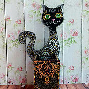Канцелярские товары ручной работы. Ярмарка Мастеров - ручная работа Кошка - карандашница. Handmade.