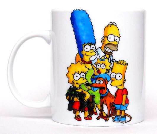 """Кружки и чашки ручной работы. Ярмарка Мастеров - ручная работа. Купить Чашка """"Симпсоны"""" (0174). Handmade. Симпсоны, подарок"""