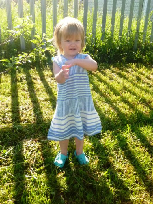 Одежда для девочек, ручной работы. Ярмарка Мастеров - ручная работа. Купить вязаное  летнее платье в полоску. Handmade. В полоску