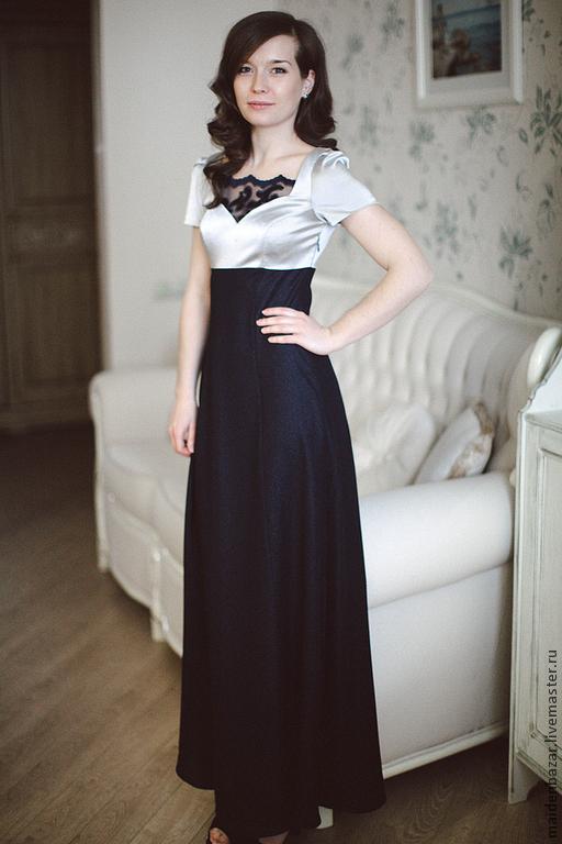 Платья ручной работы. Ярмарка Мастеров - ручная работа. Купить Платье. Handmade. Однотонный, Новогоднее платье, платье синее