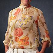 """Одежда ручной работы. Ярмарка Мастеров - ручная работа Шифоновая блузка """"Тюльпаны"""". Handmade."""
