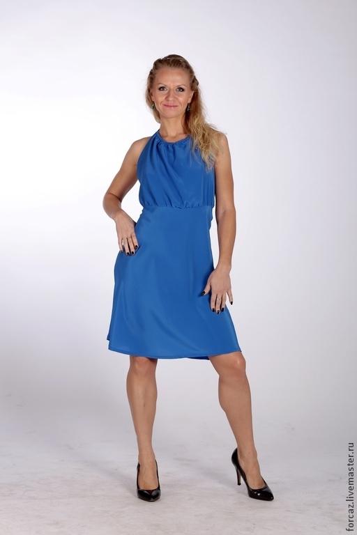"""Платья ручной работы. Ярмарка Мастеров - ручная работа. Купить Платье голубое """"При свечах"""". Handmade. Голубой, кашибо"""