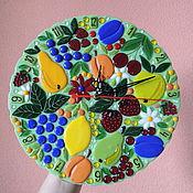 """Для дома и интерьера ручной работы. Ярмарка Мастеров - ручная работа Часы настенные из стекла """" фруктовый сон"""" фьюзинг. Handmade."""