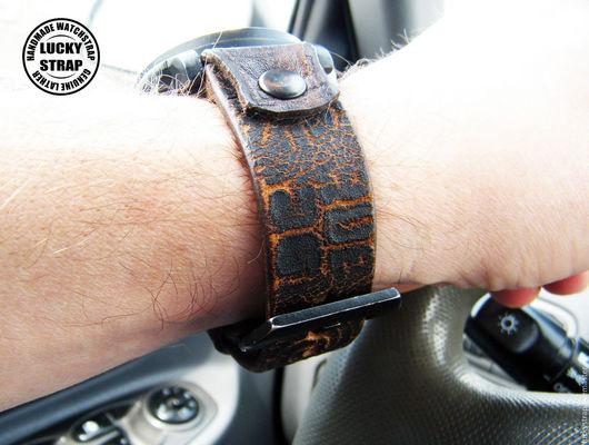 """Часы ручной работы. Ярмарка Мастеров - ручная работа. Купить ремешок для часов """"КРЭК"""". Handmade. Коричневый, натуральная кожа"""