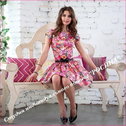 Платья ручной работы. Ярмарка Мастеров - ручная работа. Купить Платье Роза. Handmade. Розовый, платье летнее, цветочный рисунок