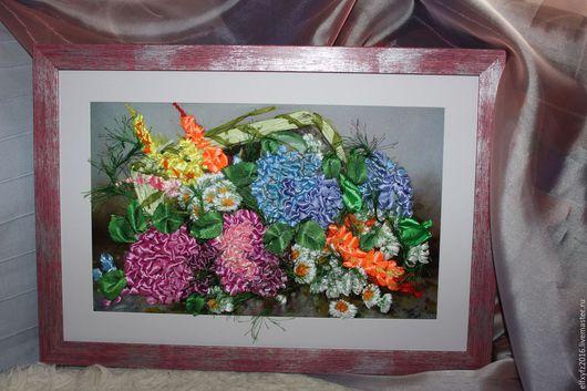 """Картины цветов ручной работы. Ярмарка Мастеров - ручная работа. Купить """" Любимая гортензия """" вышивка атласными лентами на габардине. Handmade."""