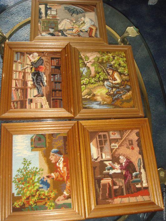 Винтажные предметы интерьера. Ярмарка Мастеров - ручная работа. Купить коллекция панно гобелен германия. Handmade. Разноцветный, дерево
