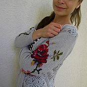 """Одежда ручной работы. Ярмарка Мастеров - ручная работа Кофточка ажурная с вышивкой""""Розы в английском саду."""". Handmade."""