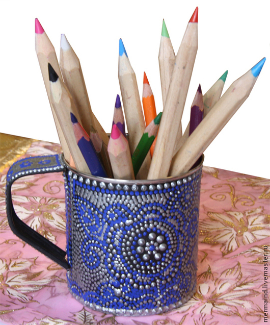 """Детская ручной работы. Ярмарка Мастеров - ручная работа. Купить Карандашница-кашпо """"Зимние узоры"""". Handmade. Тёмно-синий"""