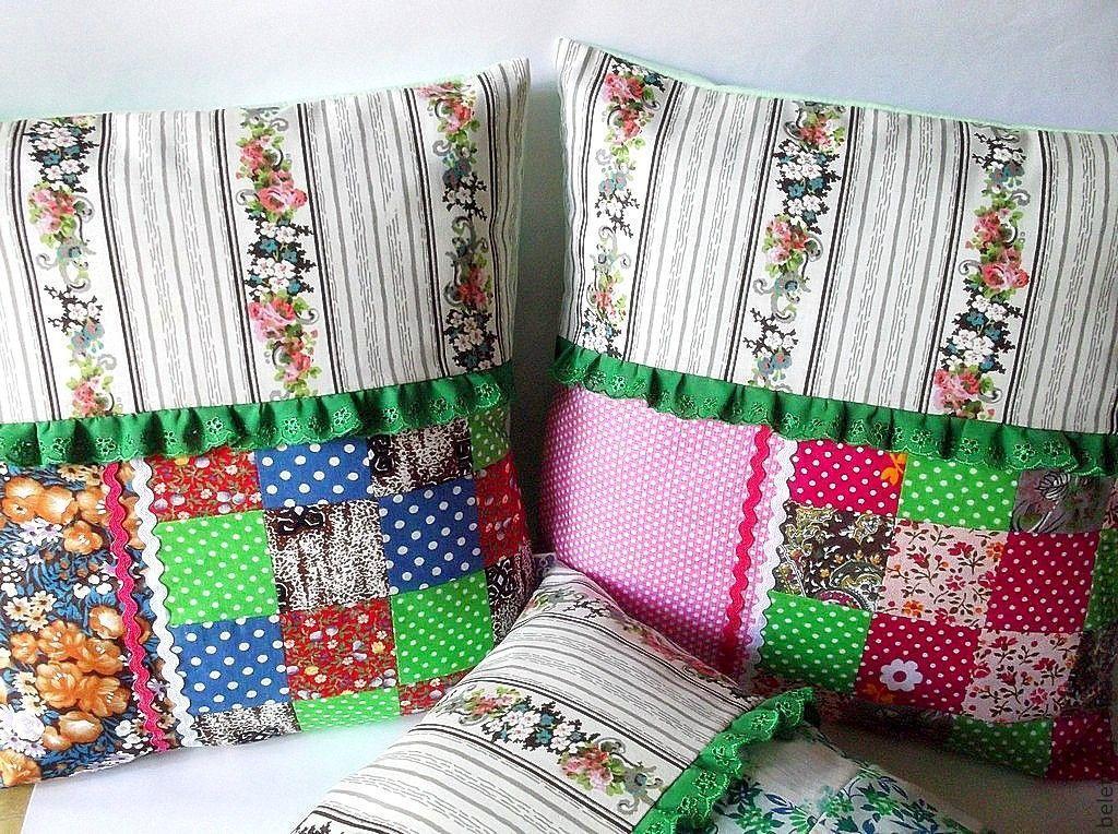 Сшить наволочку на подушку из кусков ткани 65