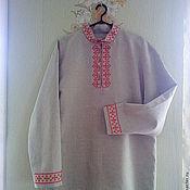 Русский стиль ручной работы. Ярмарка Мастеров - ручная работа Мужская рубаха из льна с ручной вышивкой крестом. Handmade.