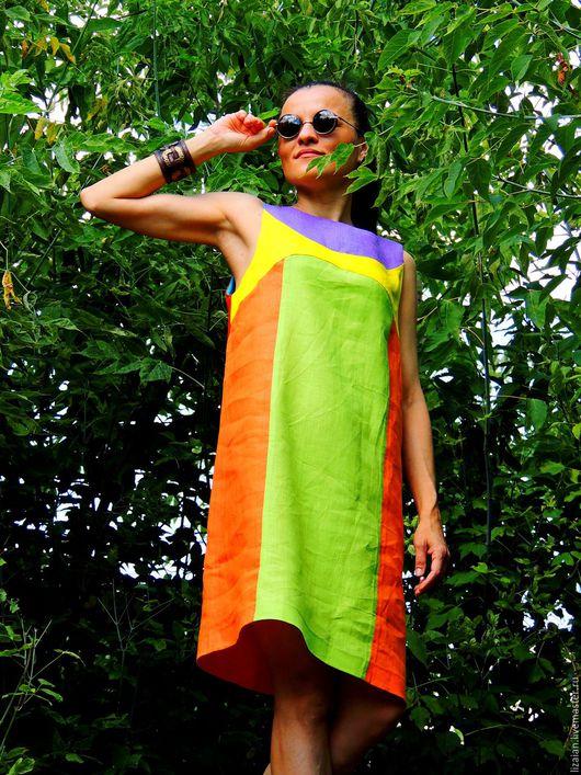 Платья ручной работы. Ярмарка Мастеров - ручная работа. Купить Летнее платье прямого кроя из льна  (№172). Handmade.