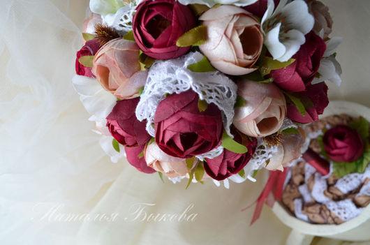 Топиарии ручной работы. Ярмарка Мастеров - ручная работа. Купить топиарий «Бордовые цветы». Handmade. Бордовый, подарок на 8 марта