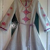 Русский стиль ручной работы. Ярмарка Мастеров - ручная работа Платье женское льняное с ручной вышивкой. Handmade.