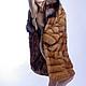 Норка золото,поперечного кроя с воротником из скандинавской лисы(редкого трехцветного крашения)