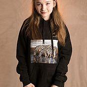 Одежда handmade. Livemaster - original item Hoodies: ZEBRA author`s UNISEX sweatshirt with print. Handmade.