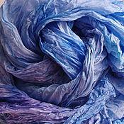 """Палантины ручной работы. Ярмарка Мастеров - ручная работа Палантин шелковый батик """"В глубинах морских"""". Handmade."""