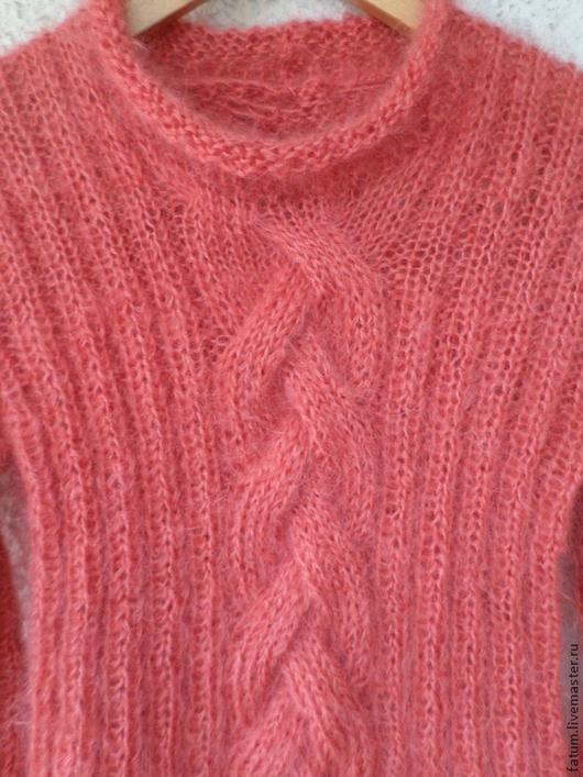 Кофты и свитера ручной работы. Ярмарка Мастеров - ручная работа. Купить Вязаный свитер из мохера Коралловое настроение. Handmade. Коралловый