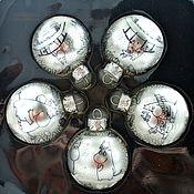 Подарки к праздникам ручной работы. Ярмарка Мастеров - ручная работа шары елочные Муми-тролли, ручная роспись, черно-белый. Handmade.