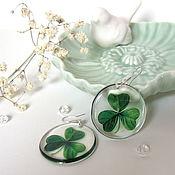 Украшения handmade. Livemaster - original item Transparent Earrings Green Clover Shamrock earrings made of Resin Eco Boho. Handmade.