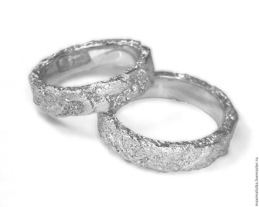 Кольца ручной работы. Ярмарка Мастеров - ручная работа. Купить Обручальные кольца Золотые, фактурные, широкие из белого золота. Handmade.