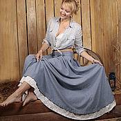 Одежда ручной работы. Ярмарка Мастеров - ручная работа Джинсовая юбка с кружевом-25%. Handmade.