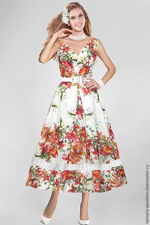 """Шитье ручной работы. Ярмарка Мастеров - ручная работа. Купить Лен Blumarine """"Орхидеи"""". Handmade. Платье, нарядный сарафан"""