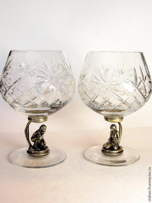 """Бокалы, стаканы ручной работы. Ярмарка Мастеров - ручная работа. Купить """"Адам и Ева"""" набор из 2х бокалов. см описание. Handmade."""