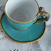 """Посуда ручной работы. Ярмарка Мастеров - ручная работа Кофейная пара """"Лазурные кратерыIII """" Керамика. Handmade."""