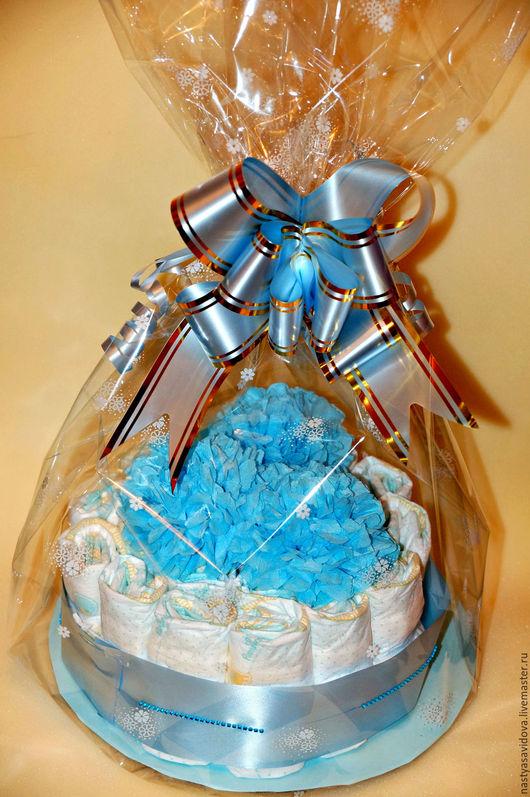 Подарки для новорожденных, ручной работы. Ярмарка Мастеров - ручная работа. Купить Торт из памперсов. Handmade. Комбинированный, торт из памперсов, подарок
