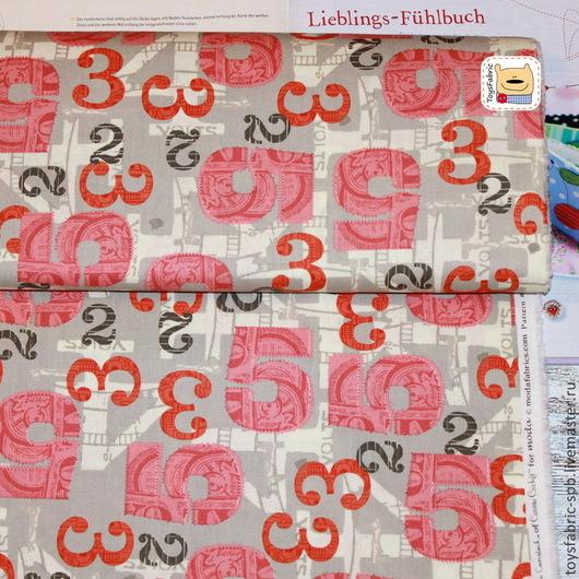 Шитье ручной работы. Ярмарка Мастеров - ручная работа. Купить Американский хлопок Ретро цифры (20149) ткань для пэчворка. Handmade.