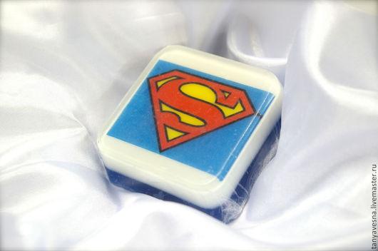 Мыло ручной работы. Ярмарка Мастеров - ручная работа. Купить Мыло Супермен в коробочке ручной работы. Handmade. Мыло, супермен