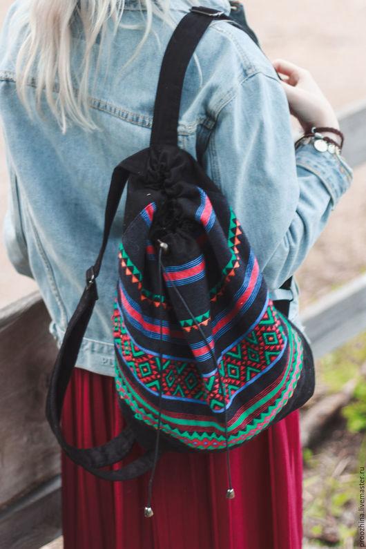 Рюкзаки ручной работы. Ярмарка Мастеров - ручная работа. Купить Рюкзак из домоткани, этнические мотивы. Handmade. Комбинированный, тканый рюкзак