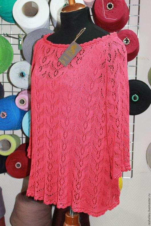 Блузки ручной работы. Ярмарка Мастеров - ручная работа. Купить Блуза #80 вязаная из 50% итальянской вискозы.. Handmade. Коралловый