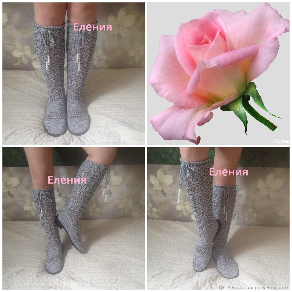 """Обувь ручной работы. Ярмарка Мастеров - ручная работа. Купить Сапоги ажурные вязаные на подошве """"Любовь"""". Handmade. Сапоги"""