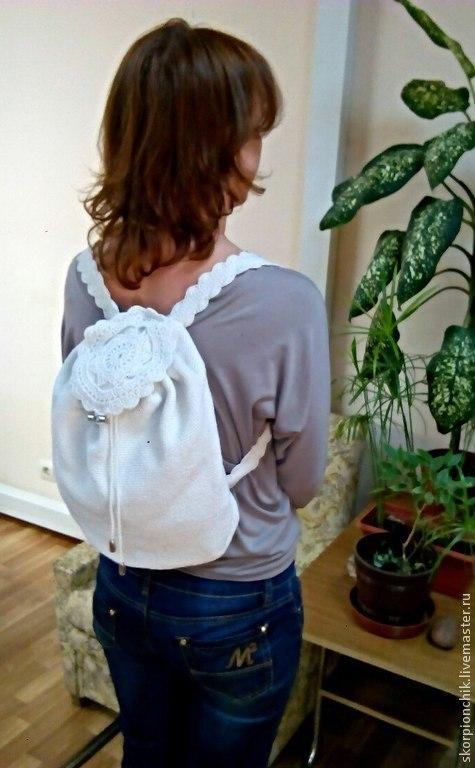 Рюкзаки ручной работы. Ярмарка Мастеров - ручная работа. Купить Рюкзак женский летний ''Романтичный''. Handmade. Рюкзак, белый цвет