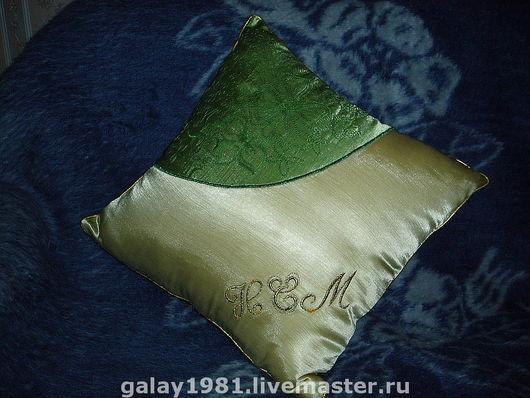 Текстиль, ковры ручной работы. Ярмарка Мастеров - ручная работа. Купить Именная подушка. Handmade. Вышивка, салатовый