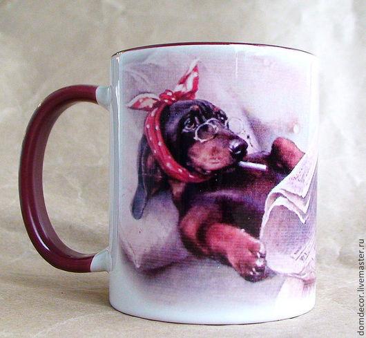 """Кружки и чашки ручной работы. Ярмарка Мастеров - ручная работа. Купить Чашка """"Мудрая такса"""". Handmade. Бордовый, собака"""