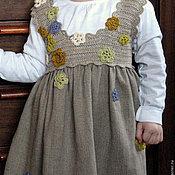 Работы для детей, ручной работы. Ярмарка Мастеров - ручная работа Льняное детское платье натурально серое , детская одежда 2 - 4 лет. Handmade.