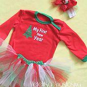 """Работы для детей, ручной работы. Ярмарка Мастеров - ручная работа Комплект для девочки """"мой первый Новый год"""". Handmade."""