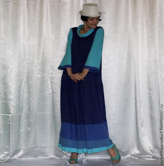 """Платья ручной работы. Ярмарка Мастеров - ручная работа. Купить Платье """"Морской круиз"""". Handmade. Синий, платье макси"""