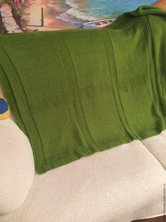 Текстиль, ковры ручной работы. Ярмарка Мастеров - ручная работа. Купить Плед вязаный весенний. Handmade. Оливковый, плед в подарок