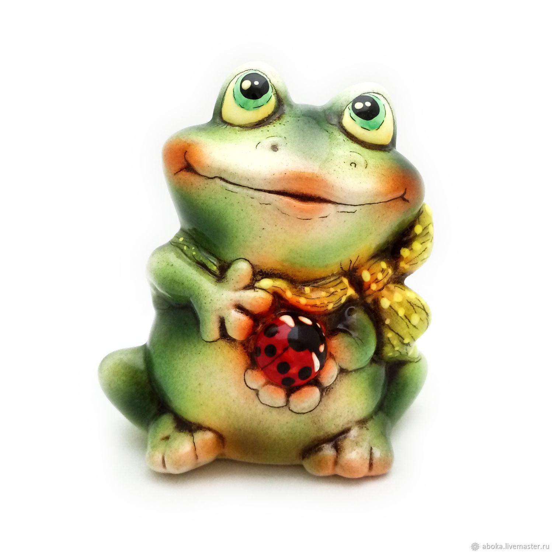 Ceramic statuette ' Frog with a beetle', Figurines, Balashikha,  Фото №1