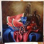 Картины и панно ручной работы. Ярмарка Мастеров - ручная работа Натюрморт с арбузом и виноградом. Handmade.