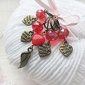 Материалы для творчества ручной работы. Ярмарка Мастеров - ручная работа Маркеры для вязания красные с сердцами, винтаж. Handmade.