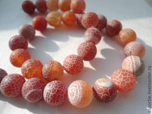 """Для украшений ручной работы. Ярмарка Мастеров - ручная работа. Купить Бусины """"Африканский"""" агат (кракле) красно-оранжевые. Handmade."""