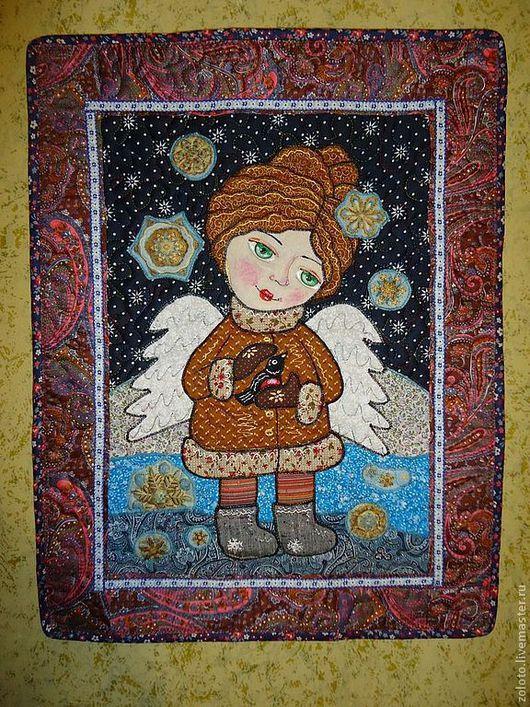 """Детская ручной работы. Ярмарка Мастеров - ручная работа. Купить Панно """" Ангел и снегирь"""". Handmade. Ангел, бабочка"""